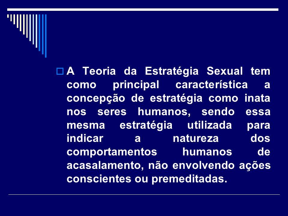 A Teoria da Estratégia Sexual tem como principal característica a concepção de estratégia como inata nos seres humanos, sendo essa mesma estratégia utilizada para indicar a natureza dos comportamentos humanos de acasalamento, não envolvendo ações conscientes ou premeditadas.