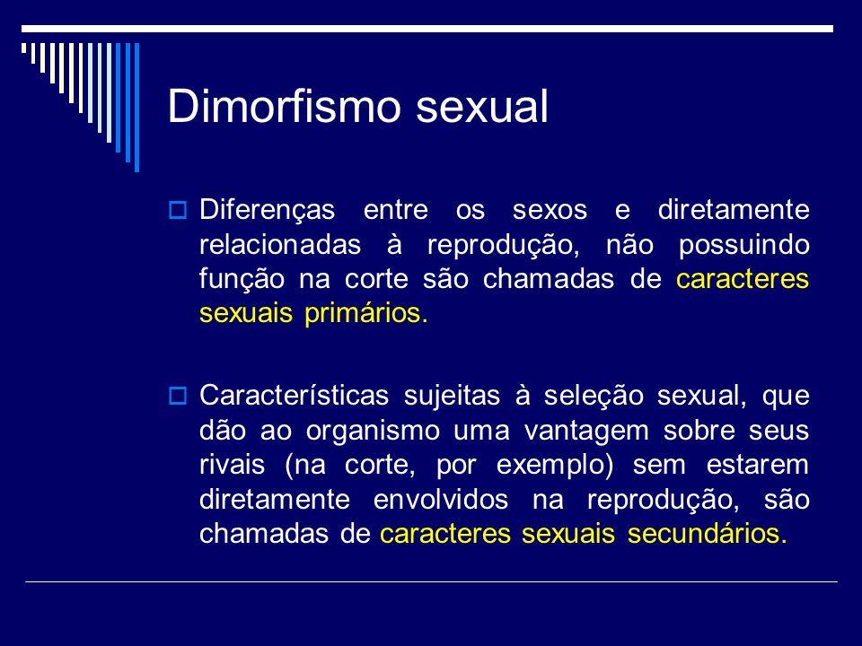 Dimorfismo sexual Diferenças entre os sexos e diretamente relacionadas à reprodução, não possuindo função na corte são chamadas de caracteres sexuais primários.