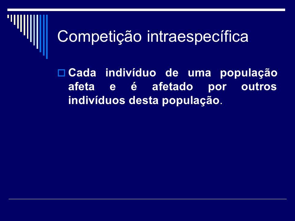 Competição intraespecífica membros de uma dada população de área geográfica definida decréscimos dependentes da densidade nos níveis do recurso afeta a fecundidade e a sobrevivência dos indivíduos