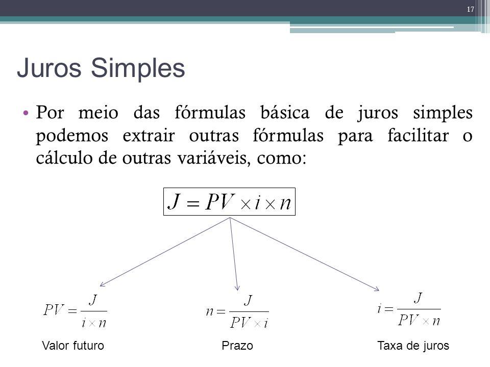Juros Simples Por meio das fórmulas básica de juros simples podemos extrair outras fórmulas para facilitar o cálculo de outras variáveis, como: 17 Val