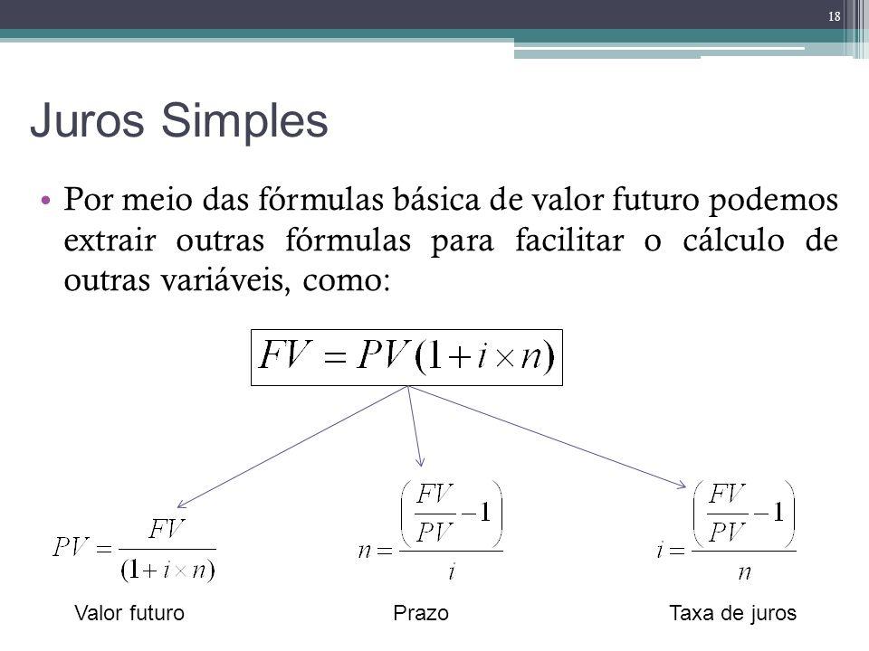 Juros Simples Por meio das fórmulas básica de valor futuro podemos extrair outras fórmulas para facilitar o cálculo de outras variáveis, como: 18 Valo