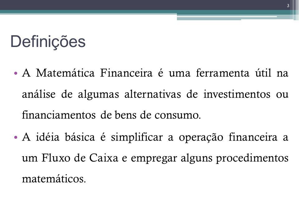 Definições A Matemática Financeira é uma ferramenta útil na análise de algumas alternativas de investimentos ou financiamentos de bens de consumo. A i