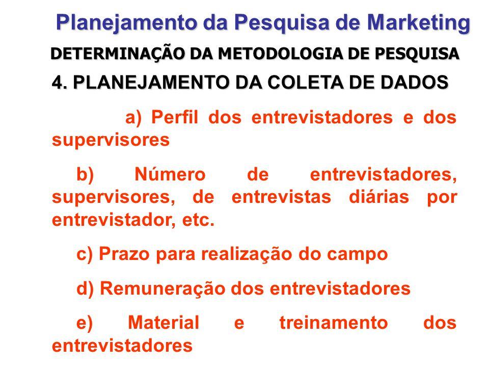 Planejamento da Pesquisa de Marketing 4. PLANEJAMENTO DA COLETA DE DADOS a) Perfil dos entrevistadores e dos supervisores b) Número de entrevistadores