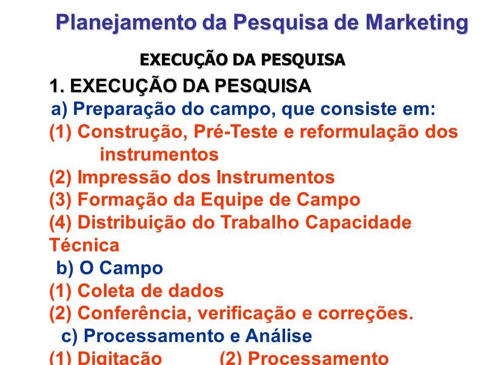 Planejamento da Pesquisa de Marketing 1. EXECUÇÃO DA PESQUISA a) Preparação do campo, que consiste em: (1) Construção, Pré-Teste e reformulação dos in