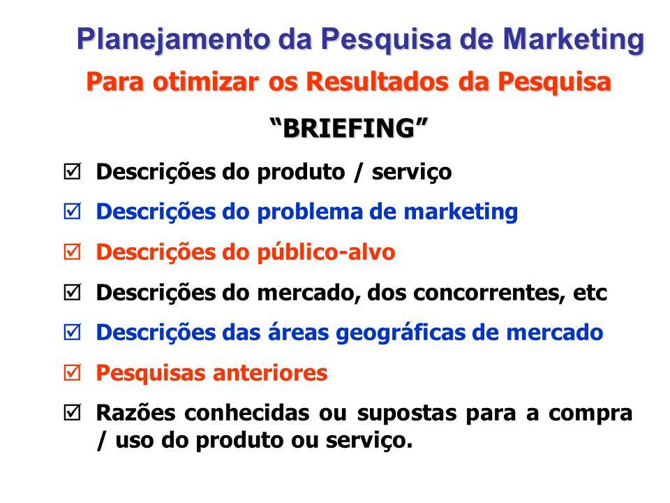 Planejamento da Pesquisa de Marketing Descrições do produto / serviço Descrições do problema de marketing Descrições do público-alvo Descrições do mer
