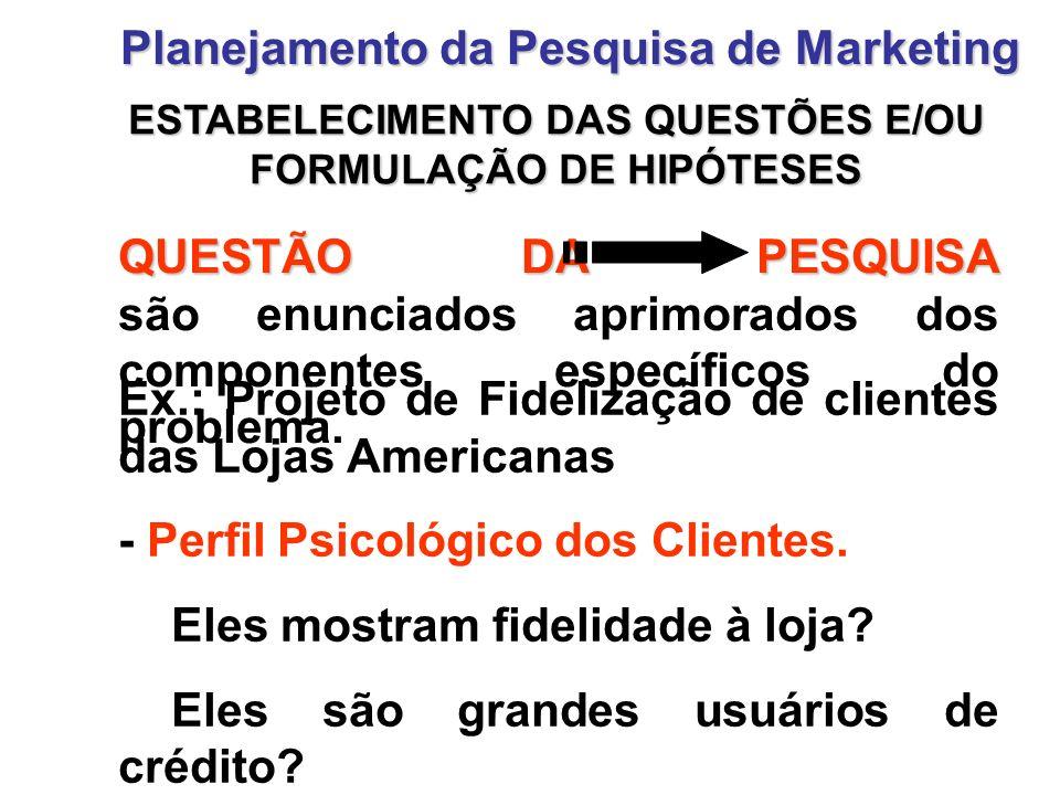 ESTABELECIMENTO DAS QUESTÕES E / OU FORMULAÇÃO DE HIPÓTESES Planejamento da Pesquisa de Marketing HIPÓTESES HIPÓTESES são suposições que podem ser confirmadas, ou não, pela pesquisa.