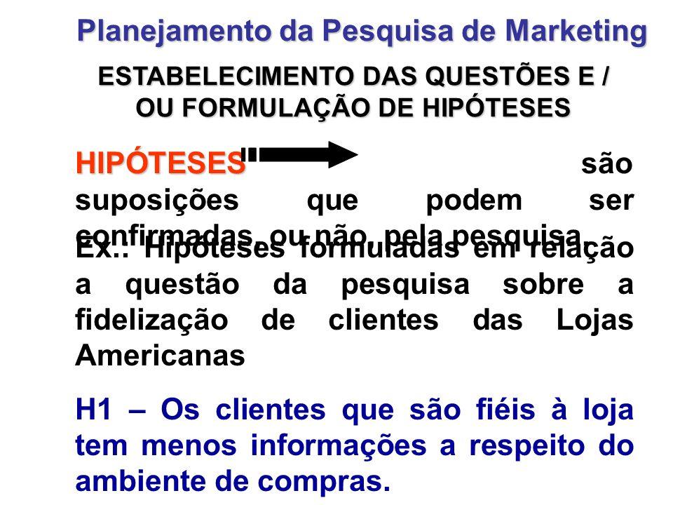 ESTABELECIMENTO DAS QUESTÕES E / OU FORMULAÇÃO DE HIPÓTESES Planejamento da Pesquisa de Marketing HIPÓTESES HIPÓTESES são suposições que podem ser con