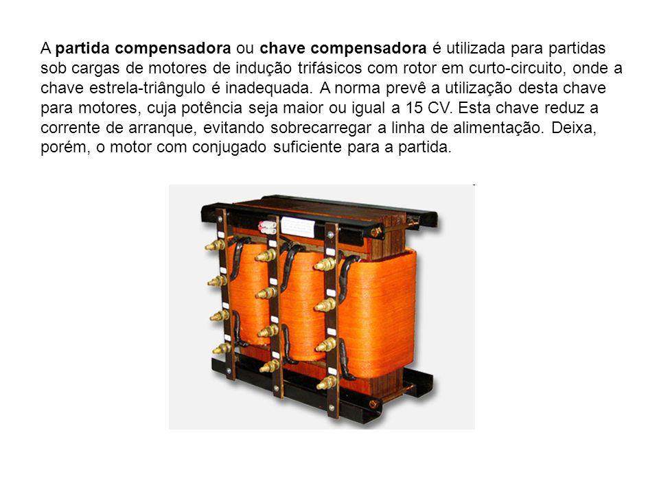 A partida compensadora ou chave compensadora é utilizada para partidas sob cargas de motores de indução trifásicos com rotor em curto-circuito, onde a