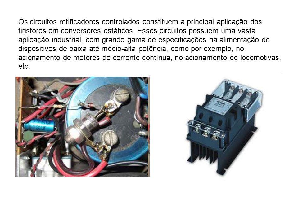 Os circuitos retificadores controlados constituem a principal aplicação dos tiristores em conversores estáticos. Esses circuitos possuem uma vasta apl