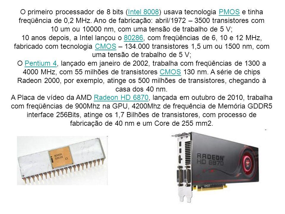 O primeiro processador de 8 bits (Intel 8008) usava tecnologia PMOS e tinha freqüência de 0,2 MHz. Ano de fabricação: abril/1972 – 3500 transistores c