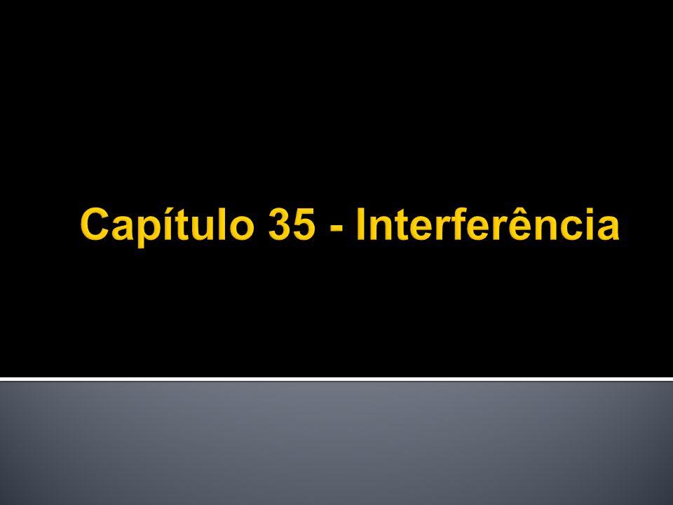 Interferência: Por diferença de caminho: Material diferente (de tamanho L e índice de refração n) na frente do espelho M 1 : meio antes