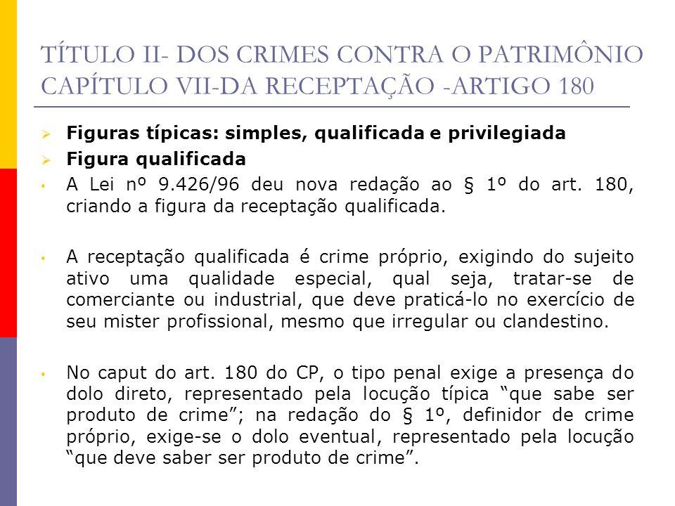 TÍTULO II- DOS CRIMES CONTRA O PATRIMÔNIO CAPÍTULO VII-DA RECEPTAÇÃO -ARTIGO 180 Figuras típicas: simples, qualificada e privilegiada Figura qualifica