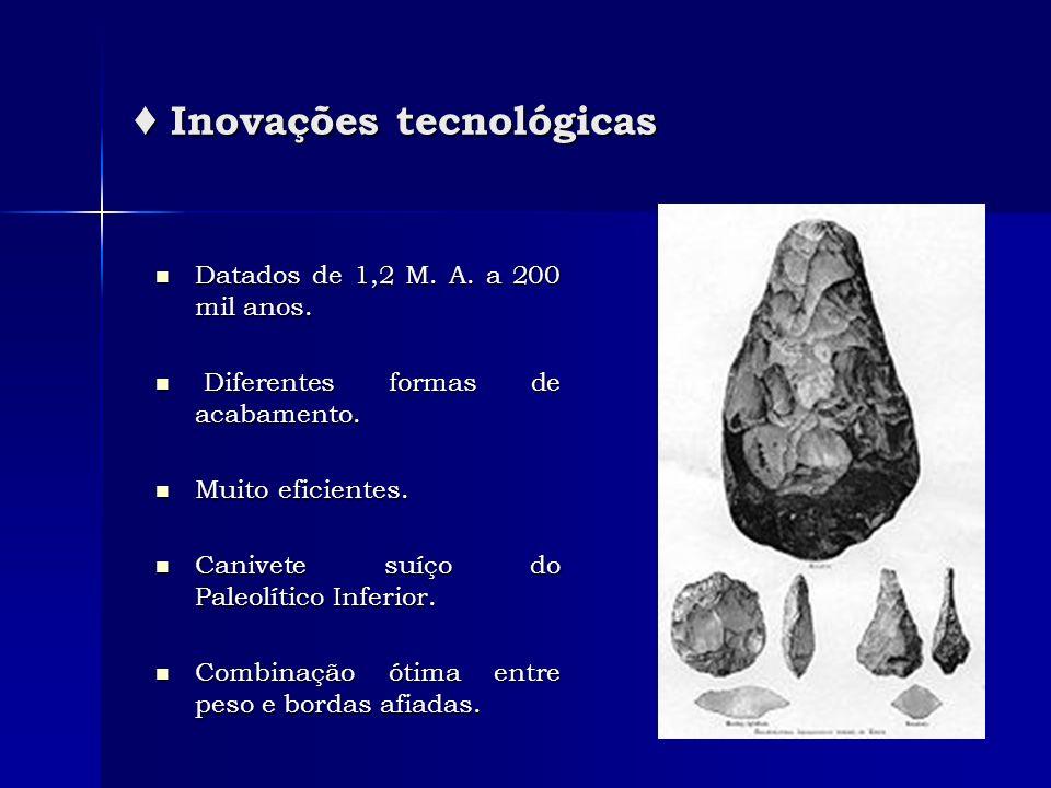 Inovações tecnológicas Inovações tecnológicas Datados de 1,2 M. A. a 200 mil anos. Datados de 1,2 M. A. a 200 mil anos. Diferentes formas de acabament