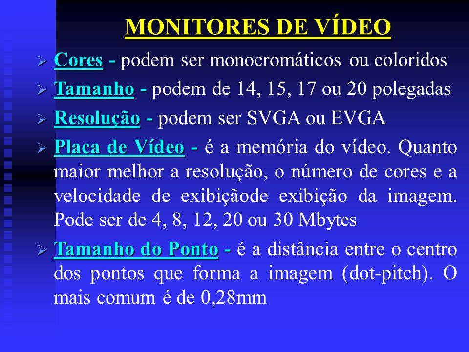 MONITORES DE VÍDEO Cores - Cores - podem ser monocromáticos ou coloridos Tamanho - Tamanho - podem de 14, 15, 17 ou 20 polegadas Resolução - Resolução