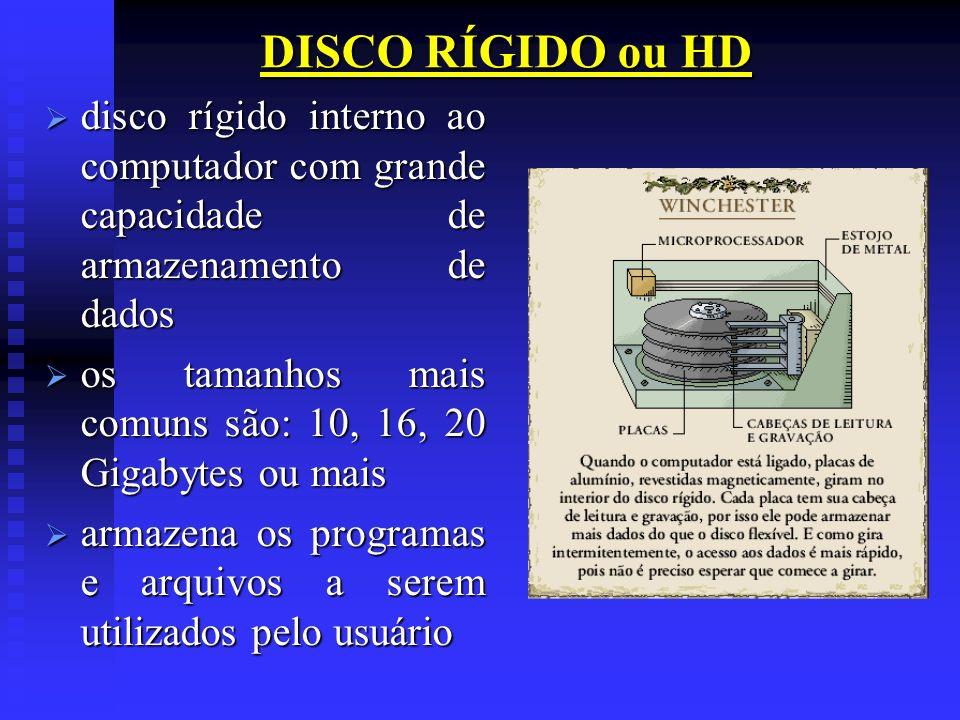 DISCO RÍGIDO ou HD disco rígido interno ao computador com grande capacidade de armazenamento de dados disco rígido interno ao computador com grande ca
