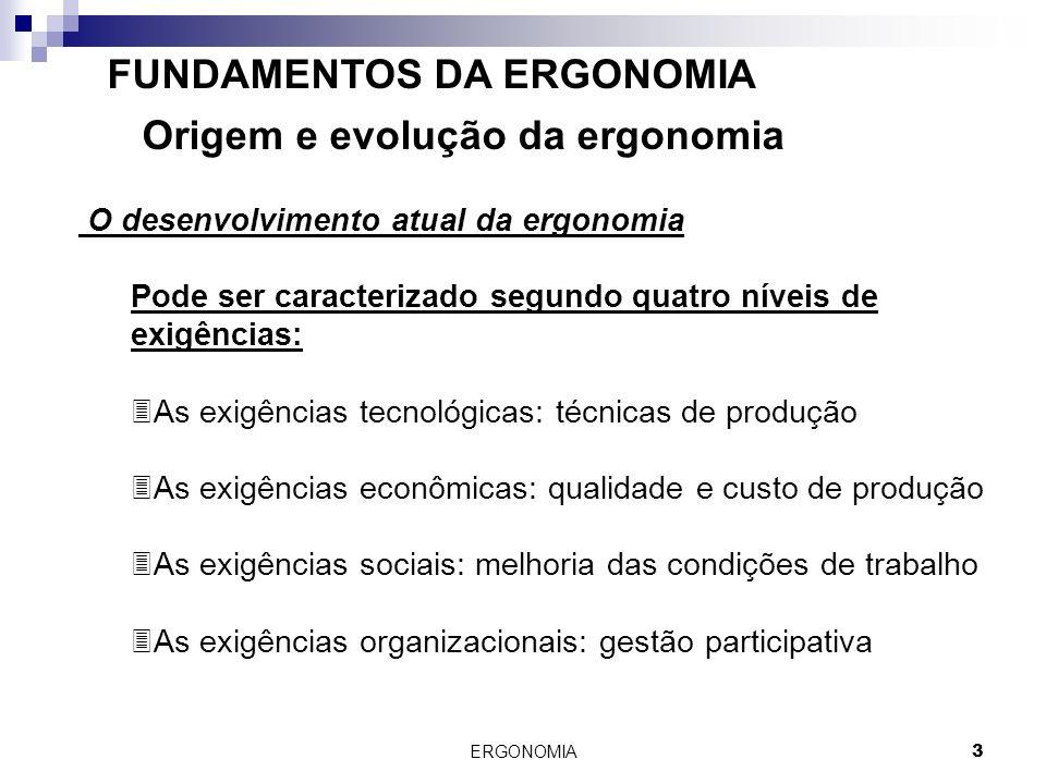 ERGONOMIA 3 FUNDAMENTOS DA ERGONOMIA Origem e evolução da ergonomia O desenvolvimento atual da ergonomia Pode ser caracterizado segundo quatro níveis