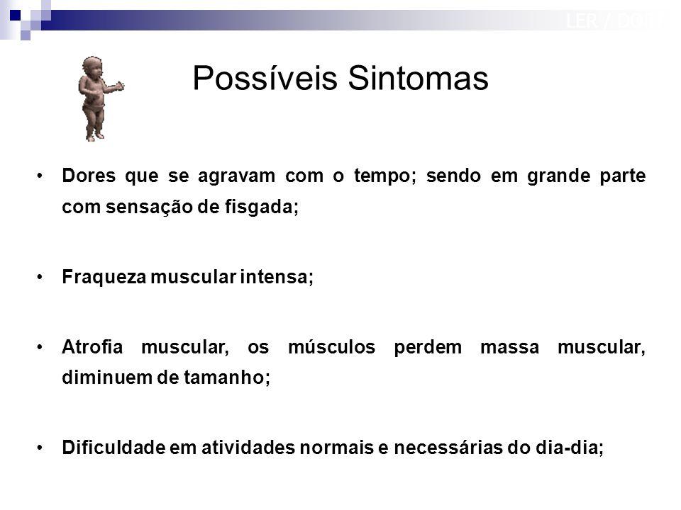 Possíveis Sintomas Dores que se agravam com o tempo; sendo em grande parte com sensação de fisgada; Fraqueza muscular intensa; Atrofia muscular, os mú