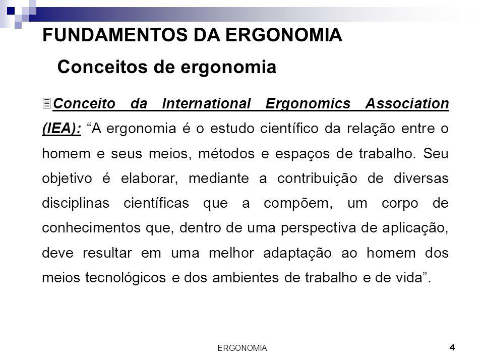 ERGONOMIA 4 FUNDAMENTOS DA ERGONOMIA Conceitos de ergonomia 3Conceito da International Ergonomics Association (IEA): A ergonomia é o estudo científico