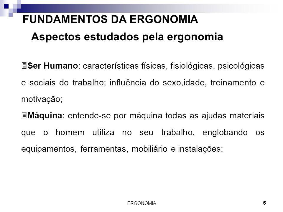 ERGONOMIA 5 FUNDAMENTOS DA ERGONOMIA Aspectos estudados pela ergonomia 3Ser Humano: características físicas, fisiológicas, psicológicas e sociais do t