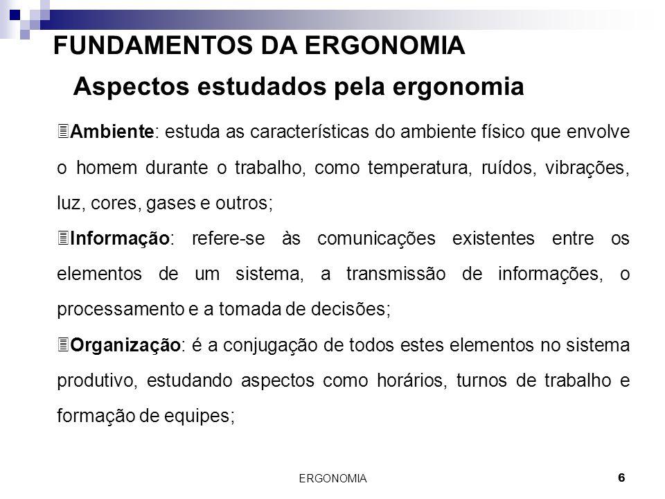 ERGONOMIA 6 FUNDAMENTOS DA ERGONOMIA Aspectos estudados pela ergonomia 3Ambiente: estuda as características do ambiente físico que envolve o homem dur