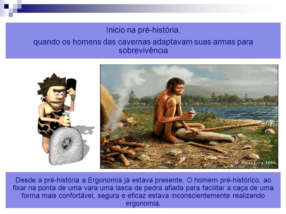 ERGONOMIA 7 Inicio na pré-história, quando os homens das cavernas adaptavam suas armas para sobrevivência Desde a pré-história a Ergonomia já estava p