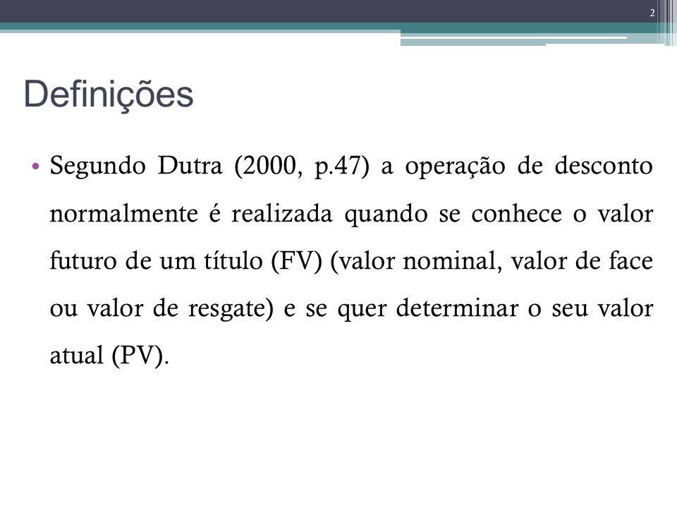 Definições O desconto (D), deve ser entendido como a diferença entre o valor futuro do título e o valor atual na data da operação.
