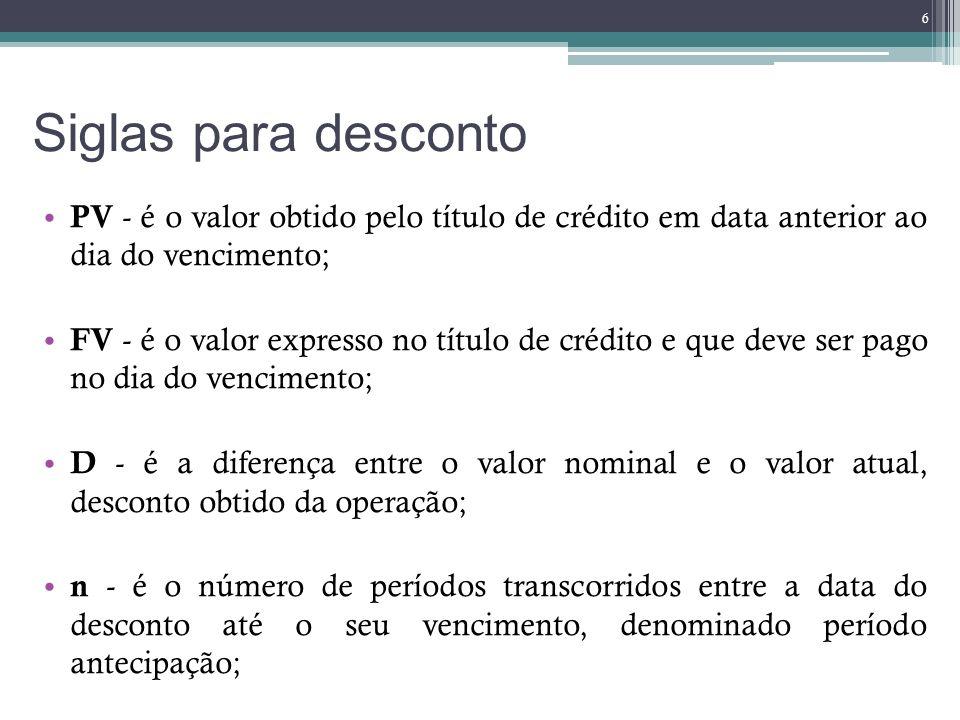 Siglas para desconto PV - é o valor obtido pelo título de crédito em data anterior ao dia do vencimento; FV - é o valor expresso no título de crédito