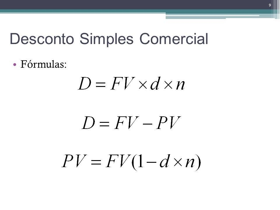 Desconto Simples Racional O desconto por dentro ou racional é obtido multiplicando-se o valor atual do título pela taxa de desconto, e este produto pelo prazo a decorrer até o vencimento do título Dutra (1990, p.40).