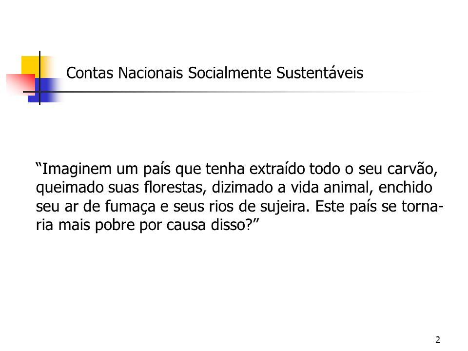 3 Contas Nacionais Socialmente Sustentáveis Ao se descobrir uma jazida de ferro em Carajás, não há grande mutação das contas nacionais.