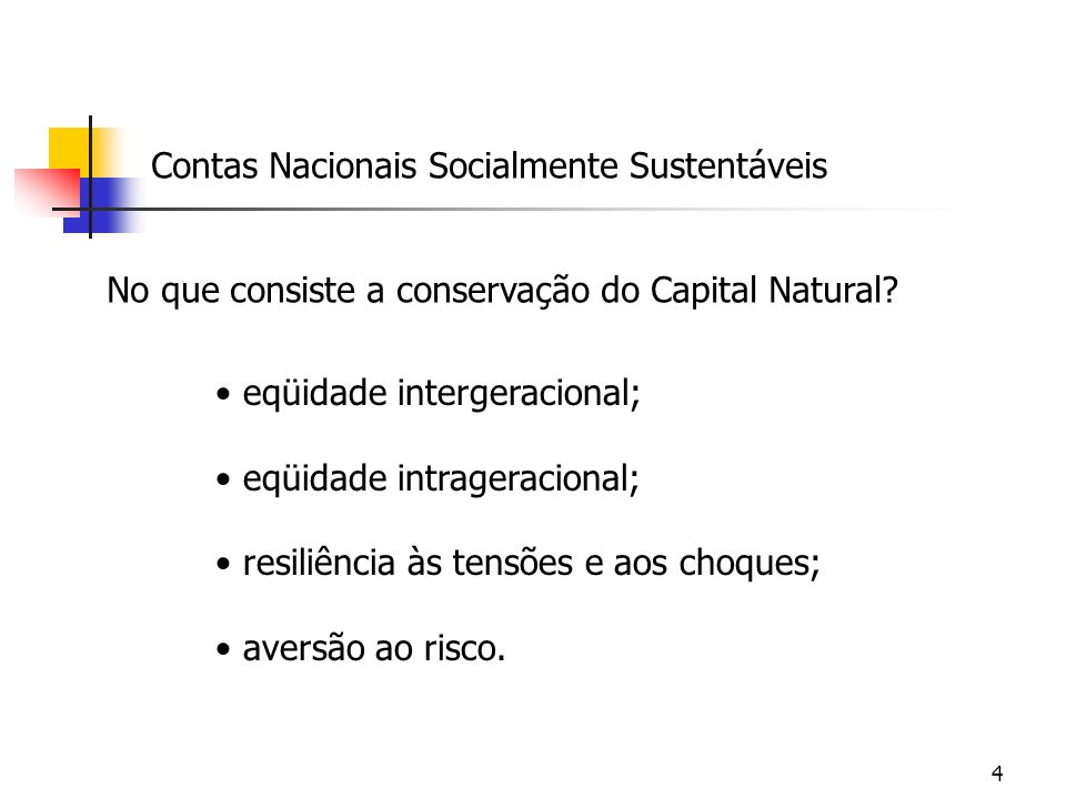 4 Contas Nacionais Socialmente Sustentáveis No que consiste a conservação do Capital Natural? eqüidade intergeracional; eqüidade intrageracional; resi