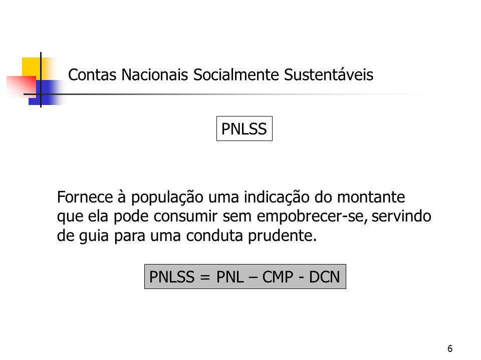 6 Contas Nacionais Socialmente Sustentáveis PNLSS Fornece à população uma indicação do montante que ela pode consumir sem empobrecer-se, servindo de g