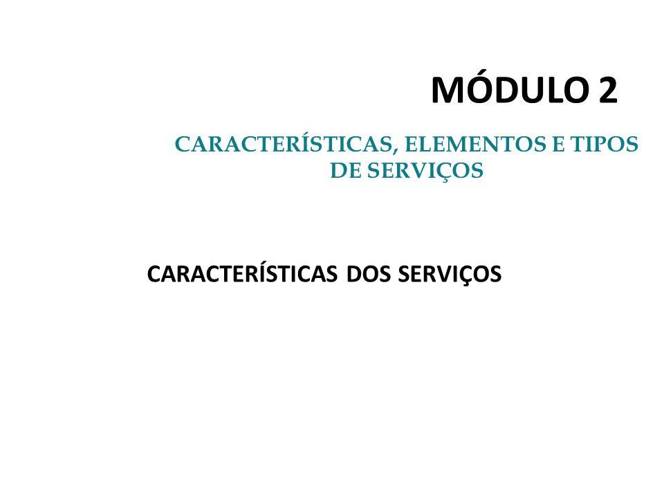 MÓDULO 2 CARACTERÍSTICAS, ELEMENTOS E TIPOS DE SERVIÇOS CARACTERÍSTICAS DOS SERVIÇOS