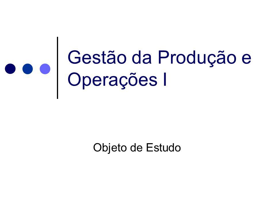 Gestão da Produção e Operações I Objeto de Estudo