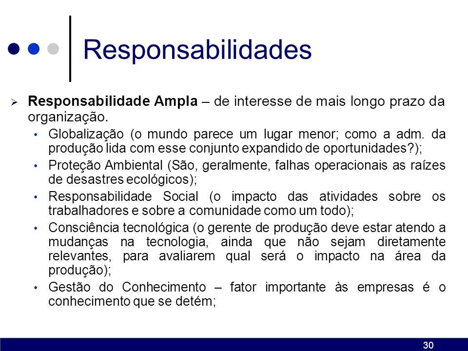 29 Responsabilidades Responsabilidade Indireta – muitas decisões afetam as atividades da produção.