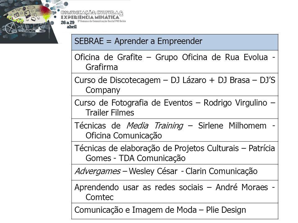 SEBRAE = Aprender a Empreender Oficina de Grafite – Grupo Oficina de Rua Evolua - Grafirma Curso de Discotecagem – DJ Lázaro + DJ Brasa – DJS Company