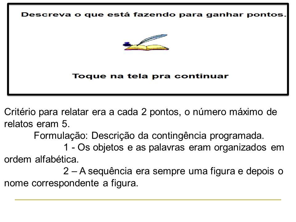 Critério para relatar era a cada 2 pontos, o número máximo de relatos eram 5. Formulação: Descrição da contingência programada. 1 - Os objetos e as pa