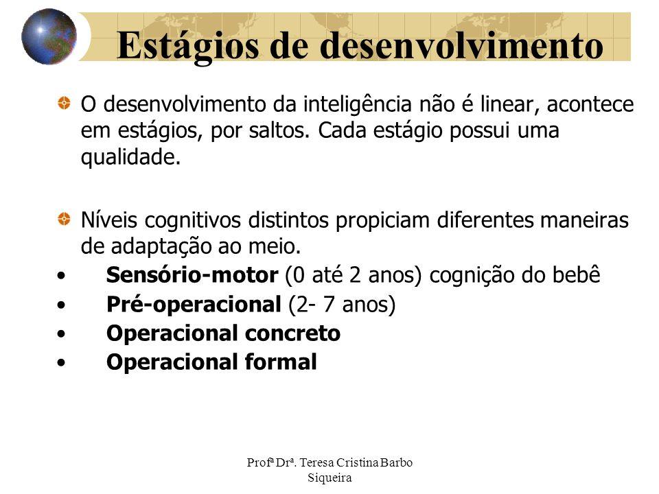 Profª Drª. Teresa Cristina Barbo Siqueira Estágios de desenvolvimento O desenvolvimento da inteligência não é linear, acontece em estágios, por saltos