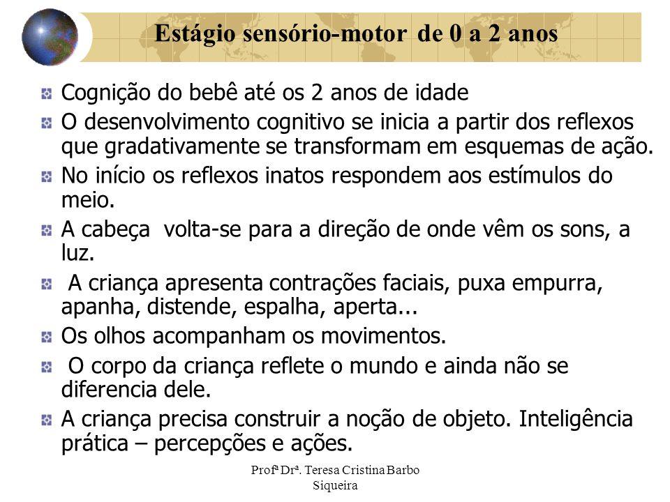 Profª Drª. Teresa Cristina Barbo Siqueira Cognição do bebê até os 2 anos de idade O desenvolvimento cognitivo se inicia a partir dos reflexos que grad