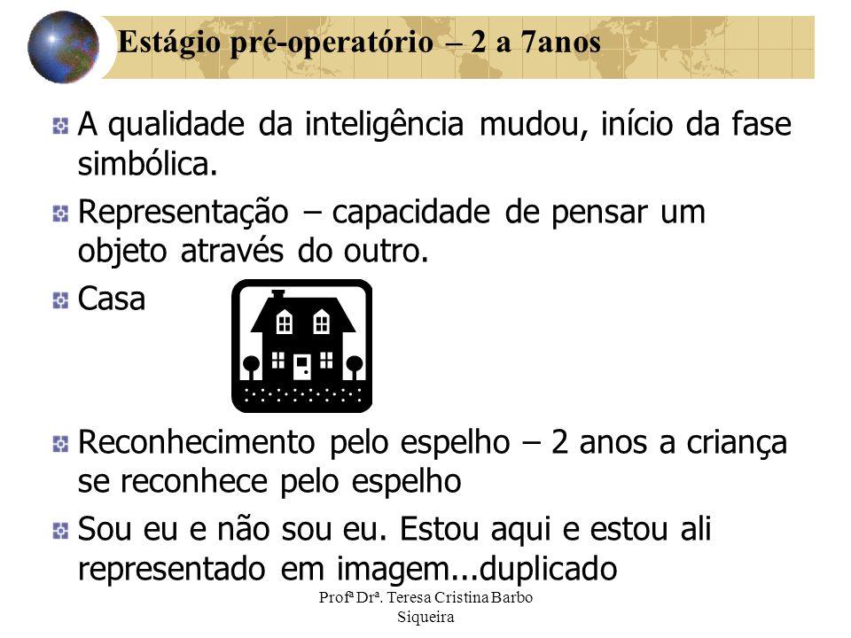 Profª Drª. Teresa Cristina Barbo Siqueira Estágio pré-operatório – 2 a 7anos A qualidade da inteligência mudou, início da fase simbólica. Representaçã
