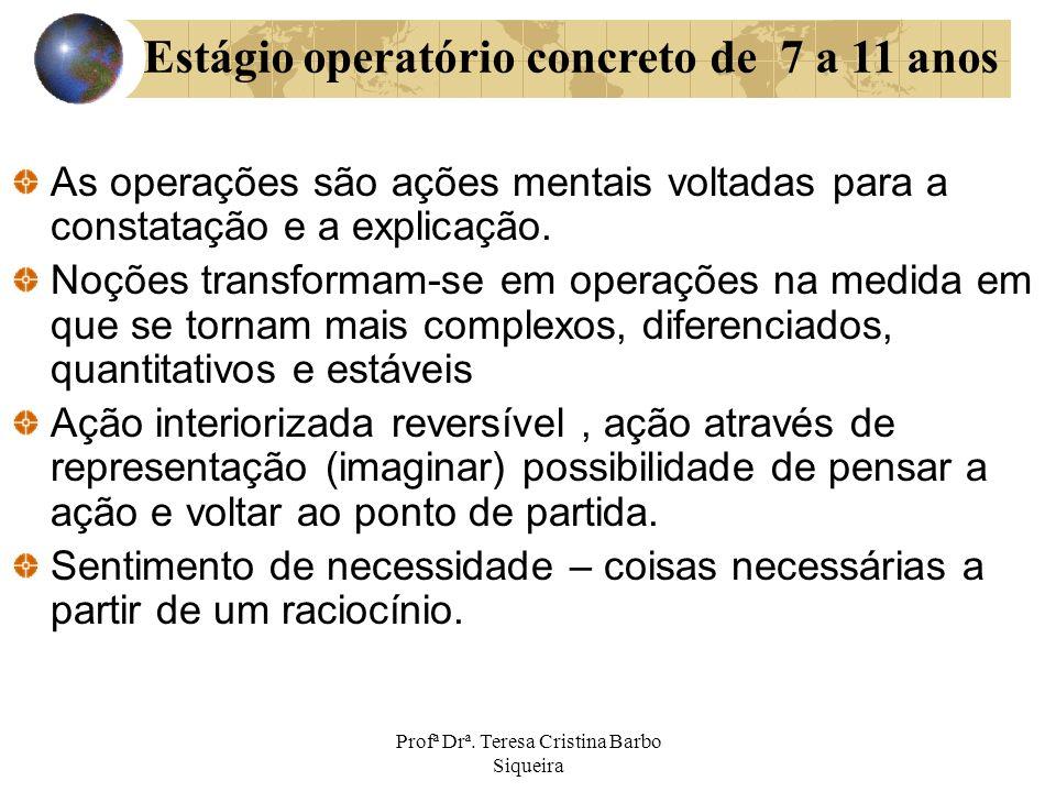 Profª Drª. Teresa Cristina Barbo Siqueira As operações são ações mentais voltadas para a constatação e a explicação. Noções transformam-se em operaçõe