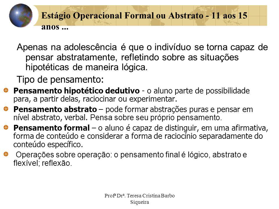 Profª Drª. Teresa Cristina Barbo Siqueira Estágio Operacional Formal ou Abstrato - 11 aos 15 anos... Apenas na adolescência é que o indivíduo se torna