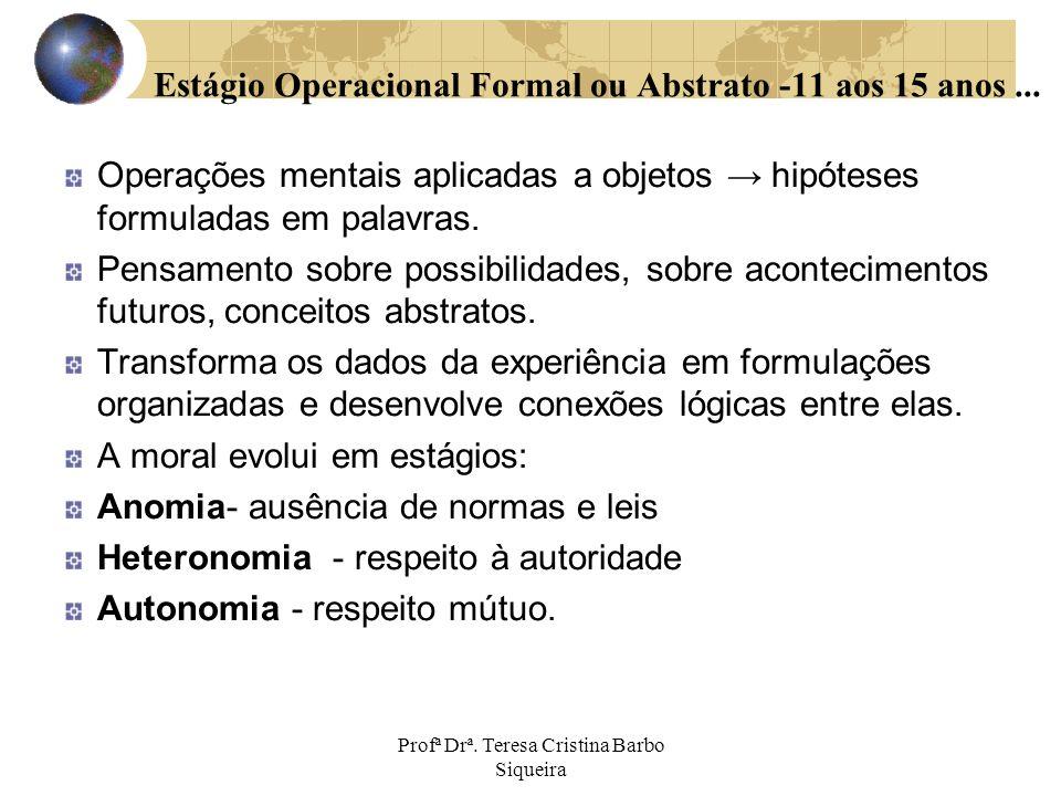 Profª Drª. Teresa Cristina Barbo Siqueira Estágio Operacional Formal ou Abstrato -11 aos 15 anos... Operações mentais aplicadas a objetos hipóteses fo