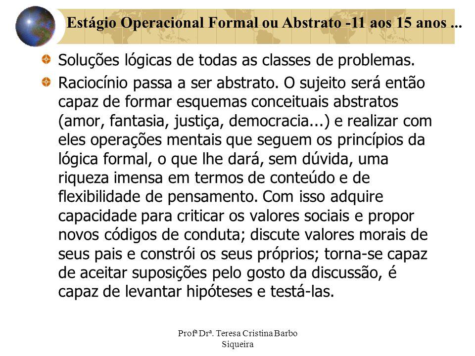 Soluções lógicas de todas as classes de problemas. Raciocínio passa a ser abstrato. O sujeito será então capaz de formar esquemas conceituais abstrato