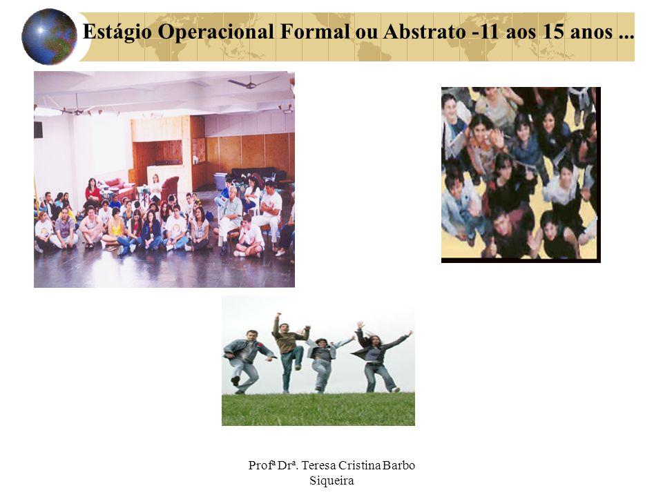 Profª Drª. Teresa Cristina Barbo Siqueira Estágio Operacional Formal ou Abstrato -11 aos 15 anos...