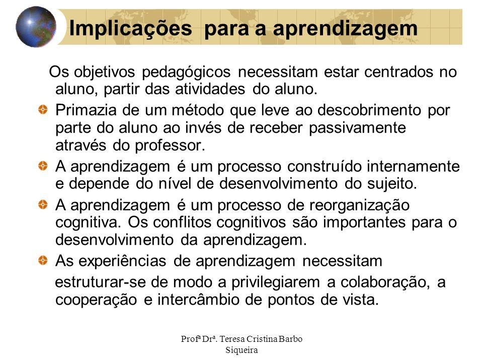 Profª Drª. Teresa Cristina Barbo Siqueira Implicações para a aprendizagem Os objetivos pedagógicos necessitam estar centrados no aluno, partir das ati