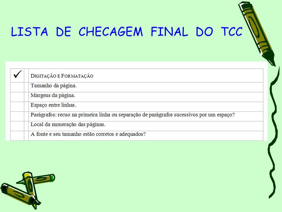 LISTA DE CHECAGEM FINAL DO TCC