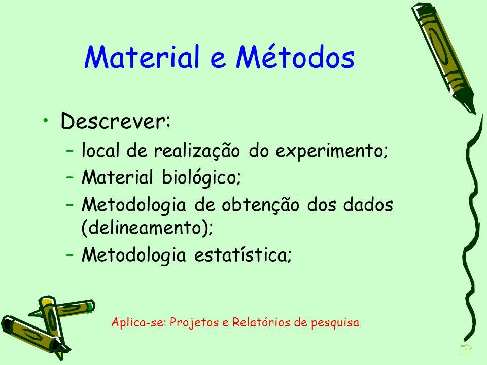 Material e Métodos Descrever: –local de realização do experimento; –Material biológico; –Metodologia de obtenção dos dados (delineamento); –Metodologi