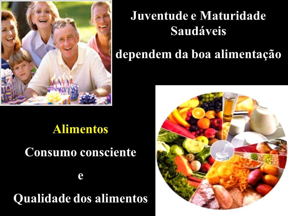 Juventude e Maturidade Saudáveis dependem da boa alimentação Alimentos Consumo consciente e Qualidade dos alimentos