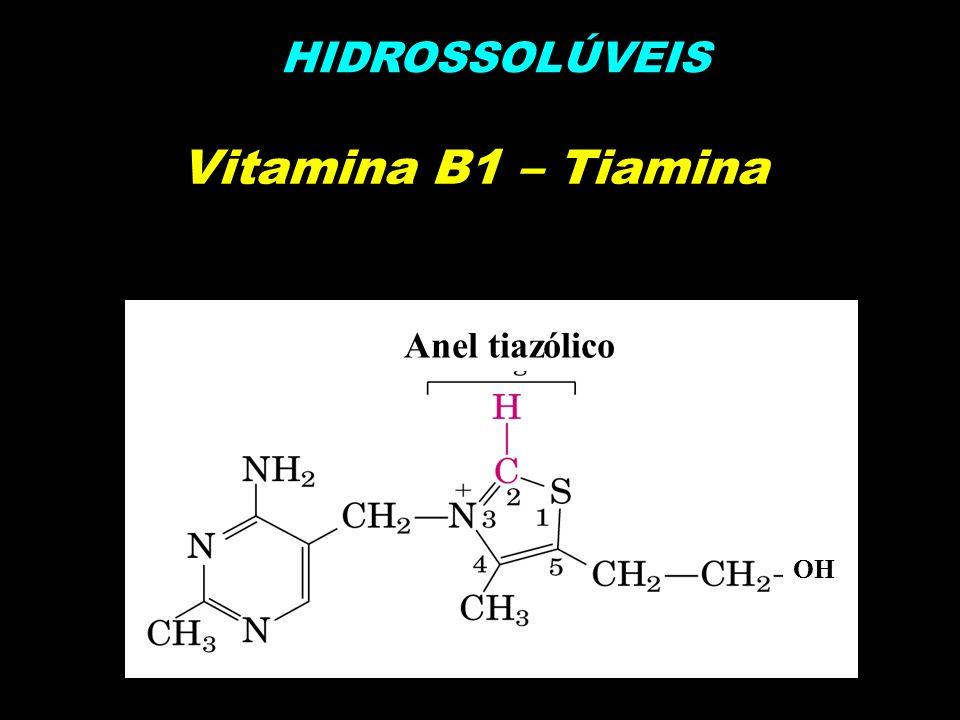 Vitamina B1 – Tiamina HIDROSSOLÚVEIS OH Anel tiazólico