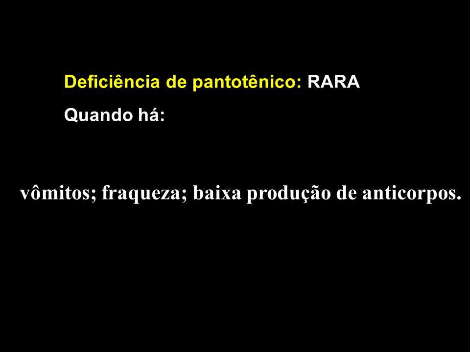 Deficiência de pantotênico: RARA Quando há: vômitos; fraqueza; baixa produção de anticorpos.